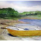 Yellow Row boat at Neys Provincial park - Ontario by loralea