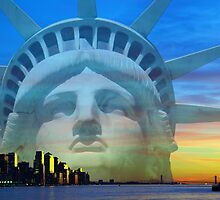 New York City Sunset Skyline Statue Liberty Hudson River by upthebanner