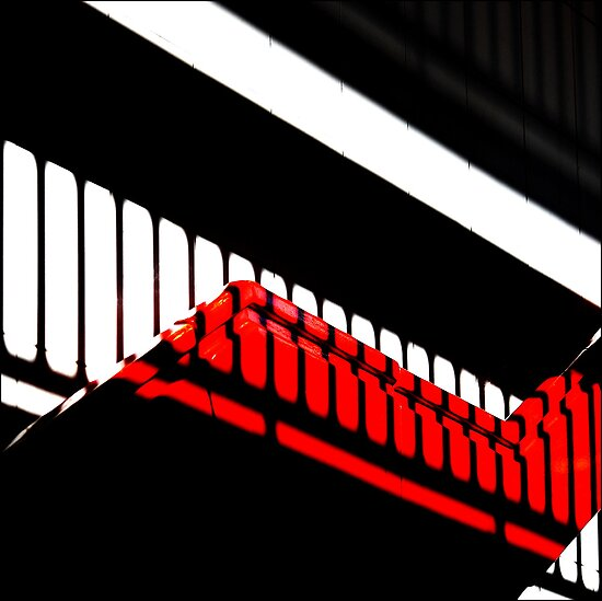 Shadowplay in red, white & black by Bob Daalder