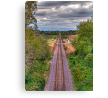 Tracks Ahead- a birdseye view Canvas Print