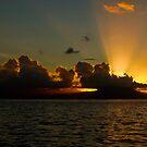 Sunset over Moorea by Kim Roper