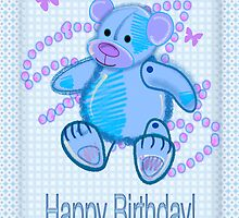 Blue Baby Bear Happy Birthday card by walstraasart