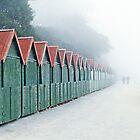 Beach Huts in mist by EllensEye