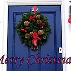 Blue door Christmas card by hjaynefoster