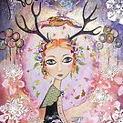 "christmas ""Rowan, girl with antlers"" by sue mochrie"