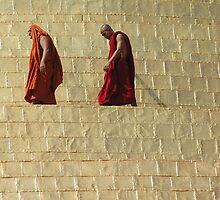 Monks, on Shwedagon Pagoda, Yangon, Myanmar by Nirmal  Ghosh