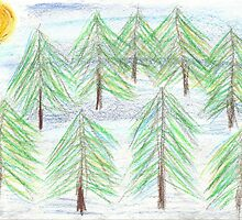 fir trees - oil pastels by rullo