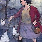 Woman feeding chickens by Bethan Matthews