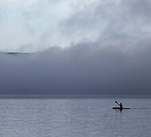 Lone Kayaker in the Fog - Ottawa River by Debbie Pinard