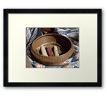 Pine Needle Basket and Indian Corn Framed Print