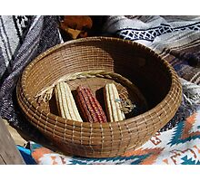 Pine Needle Basket and Indian Corn Photographic Print