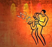 Sax Player on Fire by Cleber Photography Design