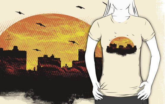 Cool Sunset - City Skyline - Cute Birds by Denis Marsili - DDTK