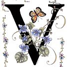 Violets and a Butterfly. by Constance Widen