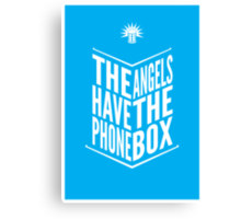 The Angels Have The Phone Box Tribute Poster White On Cyan Canvas Print