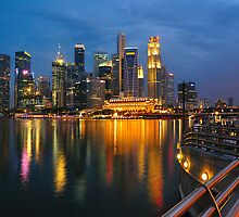 Singapore Waterfront's blue hour by masact
