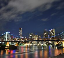 Story Bridge Blue Lights by doji