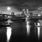 Tulsa Lights - Centennial Park View (Black and White) by Gregory Ballos | gregoryballosphoto.com
