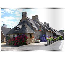 Thatched cottage in Brittany Poster