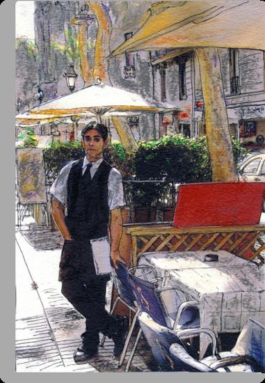 Waiter on La Rambla by Randy Sprout
