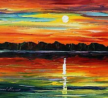 SUNSET REFLECTION  - Original Art Oil Painting By Leonid Afremov by Leonid  Afremov