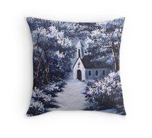 Little White Church On Winter Night Throw Pillow