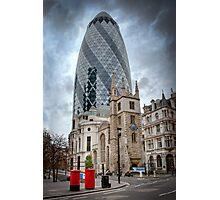 Moody Gherkin: London, UK. Photographic Print