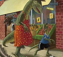 dinosaur mum out shopping with son by martyee