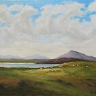 West of Ireland Landscape with Turf Stacks by Geraldine M Leahy