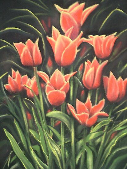 Tulips. Pastel painting. by jan farthing