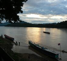 The Mekong at dusk by Intrepidjoan
