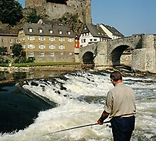 Angler on the River Lahn at Runkel, Hesse, Germany. by David A. L. Davies