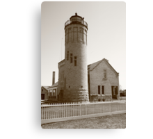 Lighthouse - Mackinac Point, Michigan in Sepia Canvas Print