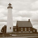 Lighthouse - Tawas Point, Michigan in Sepia by Frank Romeo