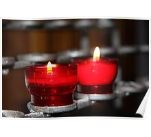 Candles in red holders Poster