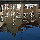 Buildings Reflected in a Canal - Brugges, Belgium by David J Dionne
