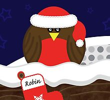 Robin On Christmas Eve Christmas Card by Louise Parton
