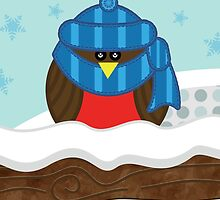 Wrapped-Up Warm Robin Christmas Card by Louise Parton