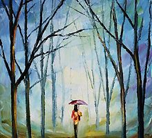 PINK UMBRELLA - Original Art Oil Painting By Leonid Afremov by Leonid  Afremov