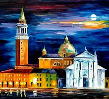 MOON ABOVE VENICE - Original Art Oil Painting By Leonid Afremov by Leonid  Afremov