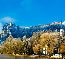 Castle and Church in Bled by DeePhoto