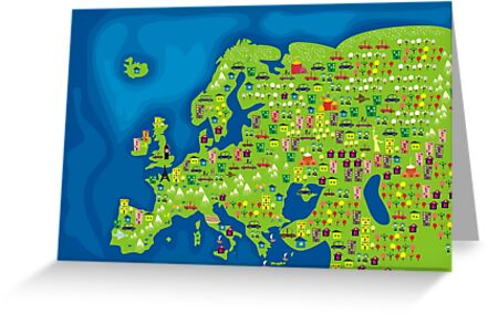 cartoon map of europe by Anastasiia Kucherenko