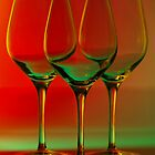 Colored wine glasses by Terry Seidler