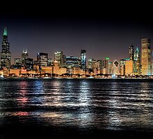 Chicago skyline at midnight by Steve Ivanov