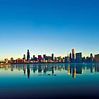 Chicago skyline at sunrise. by Steve Ivanov