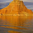 Lake Powell. Arizona butte and reflections by David Chesluk