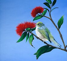 Waxeye - pohutukawa by Pam Buffery