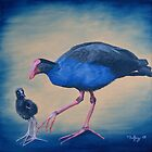 Pukeko and chick by Pam Buffery