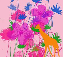 Giraffe & Flowers. by Vitta