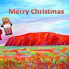 Merry Christmas Teddy drops in on Uluru by Virginia McGowan